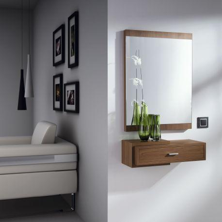Recibidor cabin consola y espejo en madera natural for Mesas recibidores modernos