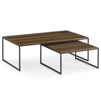Puzzle, el centro de tu salón con un sobre amplio en madera y estructura en metal