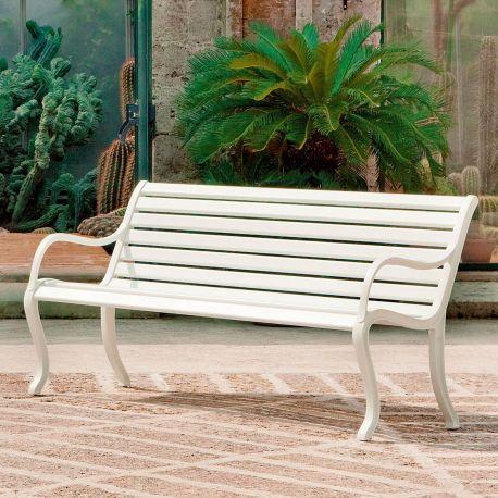Oasi de Fast en color blanco, bancos de aluminio para exterior