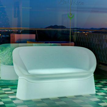 Menorca, sofá para exterior en color blanco sin luz, o mando a distancia para elegir la luz