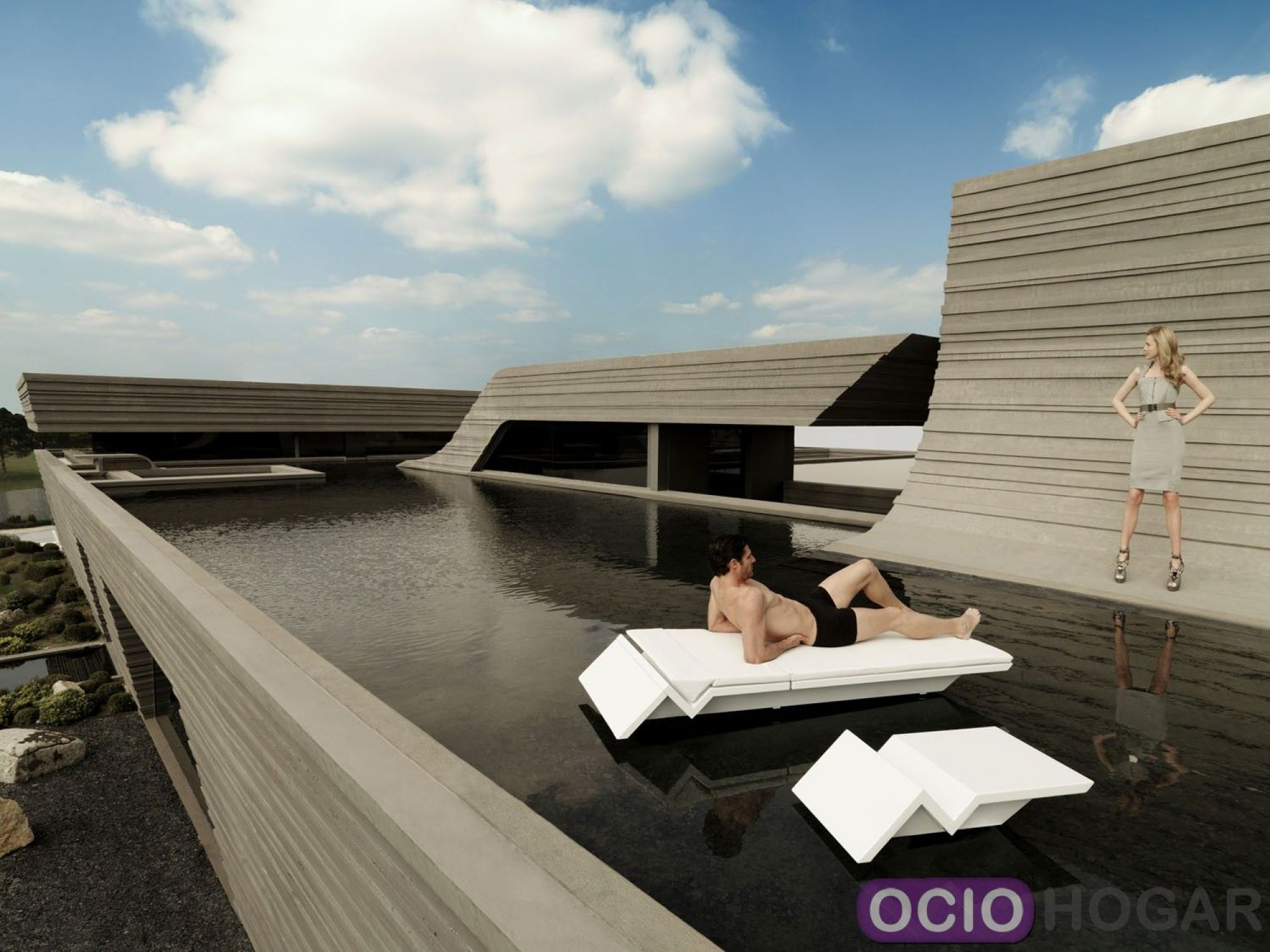 Mesa para tumbona rest de vondom for Casas prefabricadas de diseno joaquin torres
