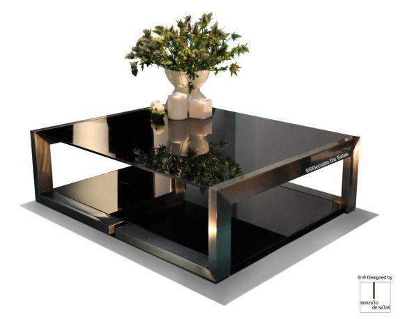 Mesa DEMI Centro 120x100x36 cm Hierro satinado + barniz y cristal oscuro de Gonzalo de Salas