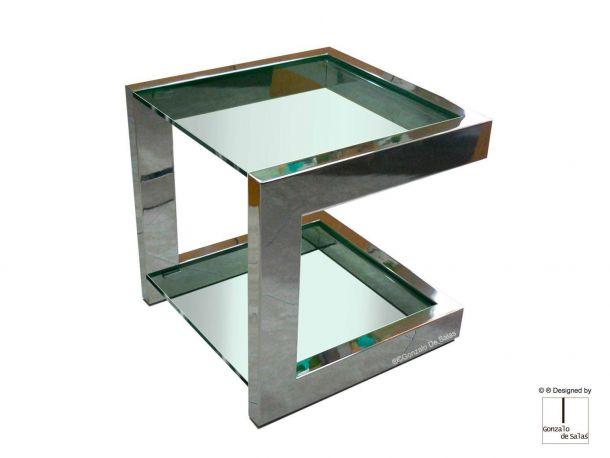 Mesa auxiliar LISA de Gonzalo de Salas 50x50x50 cm en acero inoxidable brillo