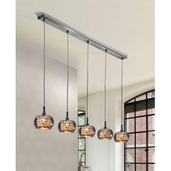 Lámpara Arián, 5 luces que deslumbran colgando desde una barra cromada