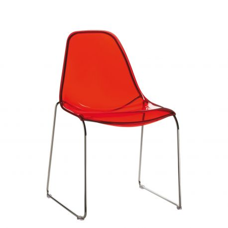 Silla Day Dream. Pedrali. Transparente Rojo.