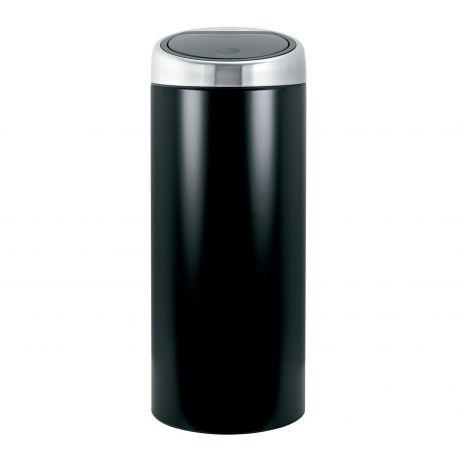 Cubo alto Touch Bin 30L Brabantia negro mate y tapa acero mate