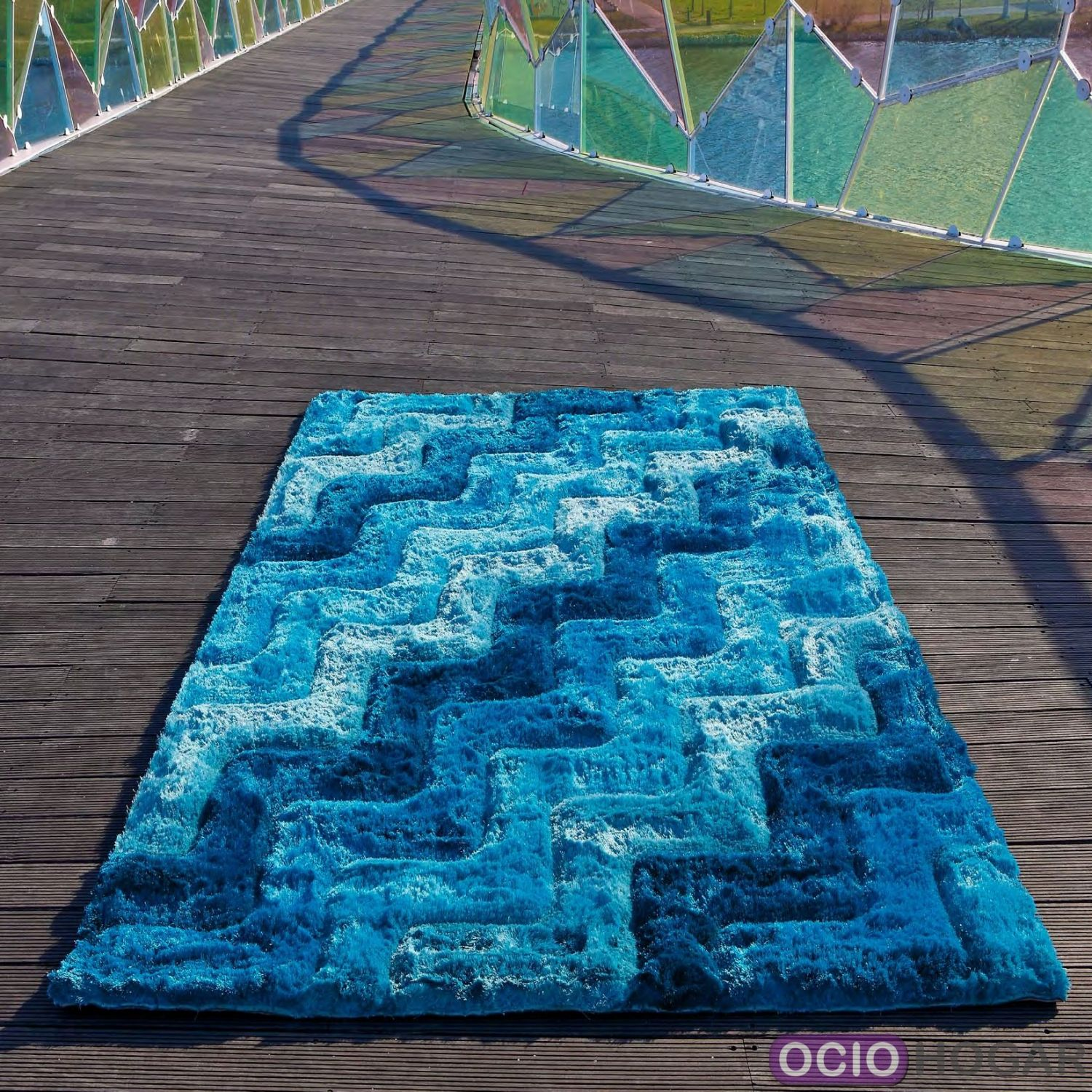 Alfombra moderna 3d waves azul carving for Alfombras chile