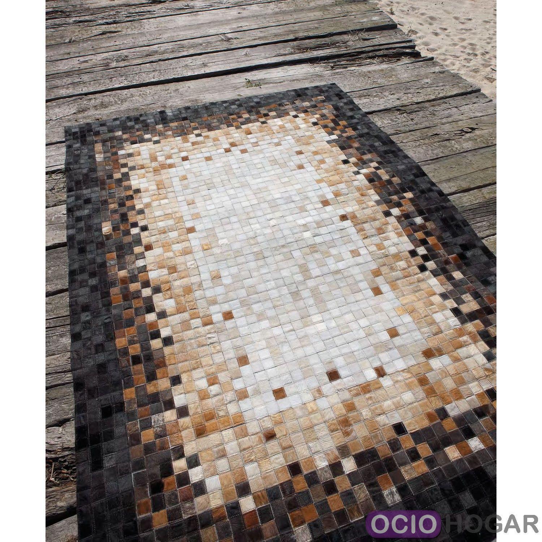 Alfombra moderna piel quadra center carving for Outlet alfombras modernas