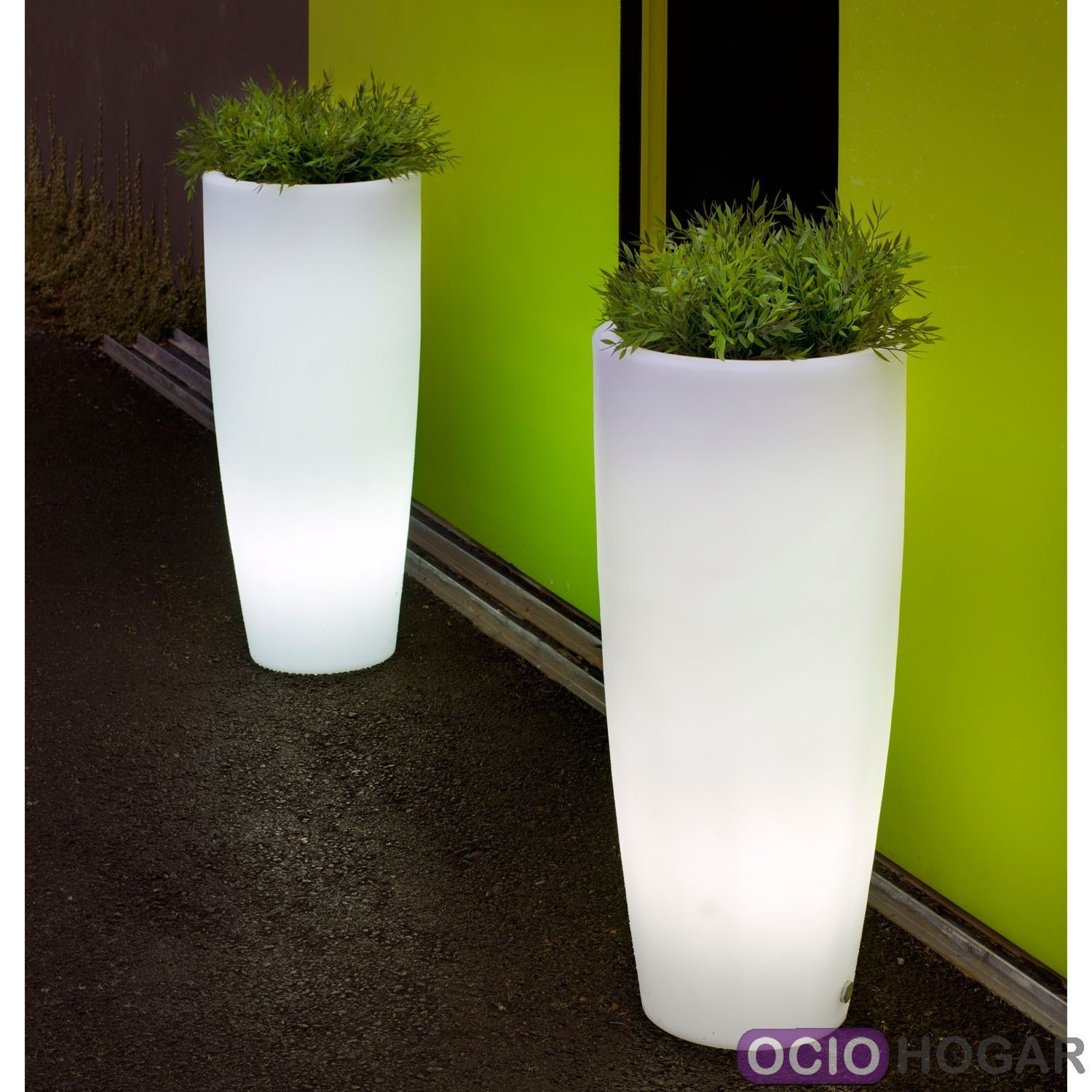 Maceta con luz bambu light new garden - Macetas pared exterior ...
